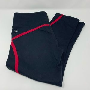 Fabletics Black Crop Pants with Red Scroll Design
